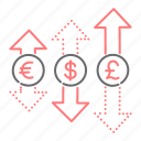 currency, dollar, euro, exchange, finance, pound, tendencies icon