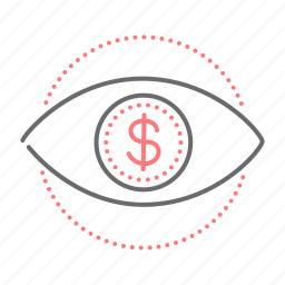 dollar, eye, finance, vision icon