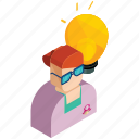employee, finance, idea, lightbulb, marketing, woman icon