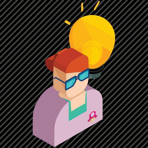 employee, finance, idea, lightbulb, marketing, woman icon