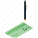 cheque, finance, money, pen, sign, write icon