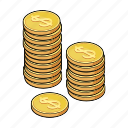 cash, coin, currency, dollar, finance, money, stack icon