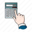 calculator, count, electronics, equipment, figure, gesture, hand icon