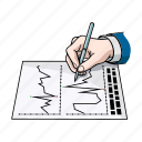 banker, business, graph, growth, hand, pen, quote icon