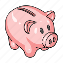 cash, coin, money, pig, piggy bank, savings icon