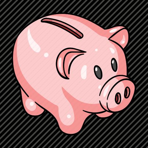 cash, coin, money, pig, piggy bank, savings icon