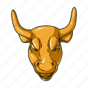bull, business, finance, golden, head, luck, success icon