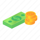 business, coin, finance, gold, isometric, money icon