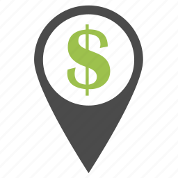 business, dollar, ecommerce, finance, location, money, pin, place icon