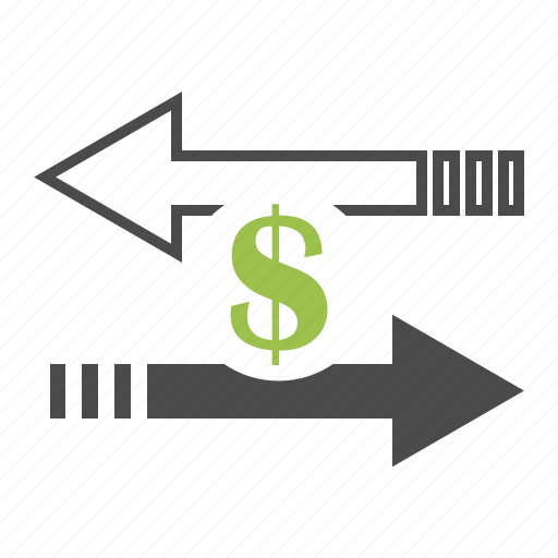 arrows, business, direction, dollar, finance, money, transfer icon