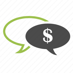 bubble chat, business, communication, dollar, finance, message, money, talk icon