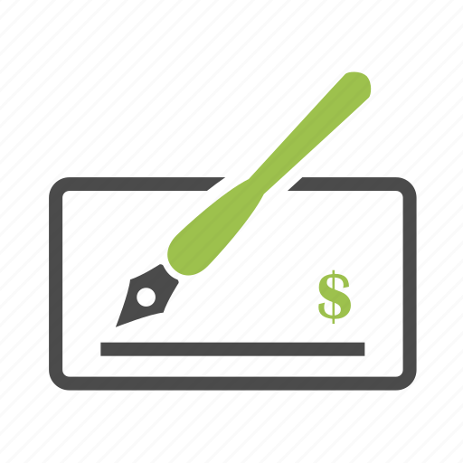 bill, business, dollar, finance, money, paycheck, pen icon