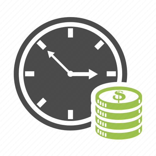 business, cash, clock, coin, dollar, finance, money, time icon