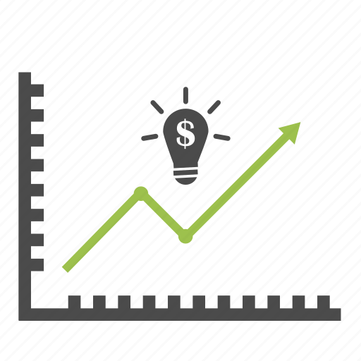 analytics, diagram, dollar, finance, graph, idea, improvement, light bulb, statistics icon