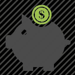 banking, credit, deposit, dollar, finance, money, piggy bank icon