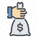 bag, bank, banking, dollar, hand, hold, money icon