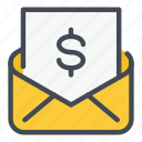invoice, letter, mail, money, payment, report, salary