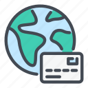 card, credit, debit, earth, globe, payment, transfer icon