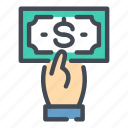 banking, cash, dollar, hand, hold, money, payment icon