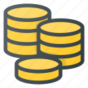coins, currency, finance, money, stack icon