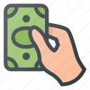 cash, hand, hold, money, pay, payment icon