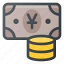 currency, money, pack, payment, stack, yen icon