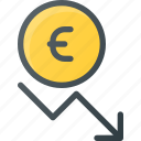 coins, currency, decrease, euro, finance, money, stock icon