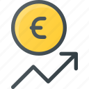 coins, currency, euro, finance, increase, money, stock icon