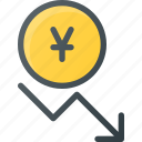 coins, currency, decrease, finance, money, stock, yen icon