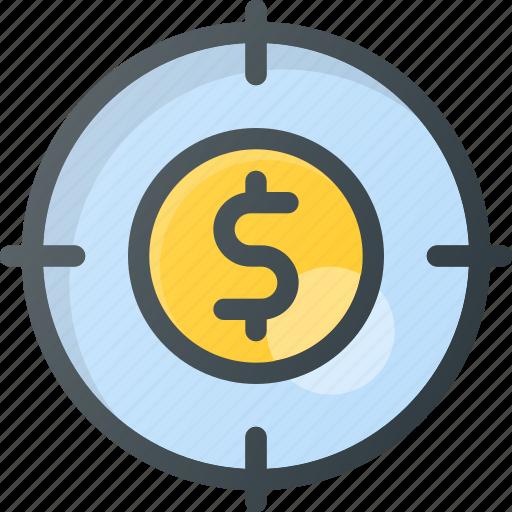 finance, money, plan, strategy, target icon