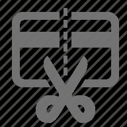 bankrupt, cancel, card, credit, cut, money, scissors icon