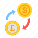 coin, currency, dollar, exchange, money, payment, poundsterling icon