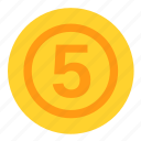 coin, currency, dollar, five, money, payment icon