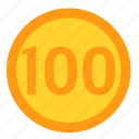 coin, currency, dollar, hundred, money, payment icon