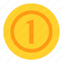 coin, currency, dollar, money, one, payment icon