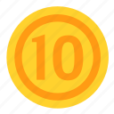 coin, currency, dollar, money, payment, ten icon
