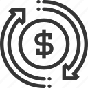 cash, coin, dollar, flow, money, recycle, revenues icon