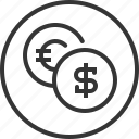 coin, conversion, currency, money, payment, revenues icon