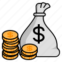 coins, gold bag, gold coins, increase profit, money, money bag, profit icon