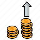 coins, gold coins, increase investment, increase profit, investing, investment, money icon