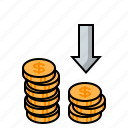 coins, gold coins, investing, investment, lose profit, lower investment, money icon