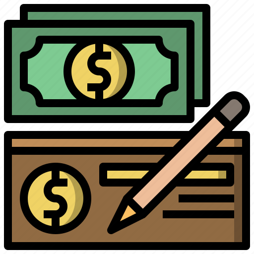 banker, banking, cheque, dollar, tool, writing icon