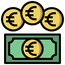 and, business, coin, currency, euro, finance, money icon