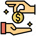 currency, exchange, hand, loan, money icon