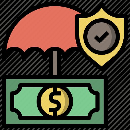 insurance, money, shield, signing icon