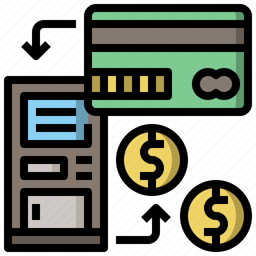 bank, business, card, cash, machine, money, withdraw icon