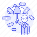business, cash, dollar, finance, insurance, male, management, money, protection, rain, secure, umbrella
