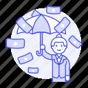business, cash, dollar, female, finance, insurance, management, money, protection, rain, secure, umbrella