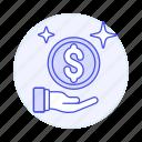 1, coin, finance, hand, money, shine, wealth icon