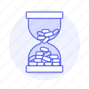 coins, finance, hourglass, management, money, protection, time